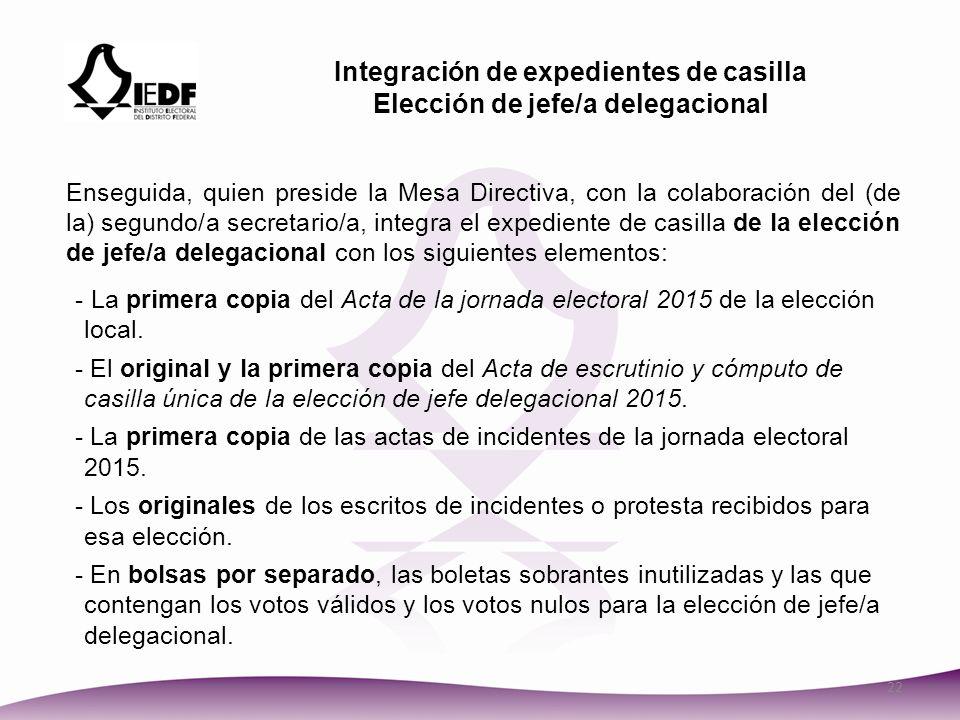 Integración de expedientes de casilla Elección de jefe/a delegacional