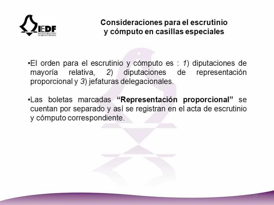 Consideraciones para el escrutinio y cómputo en casillas especiales