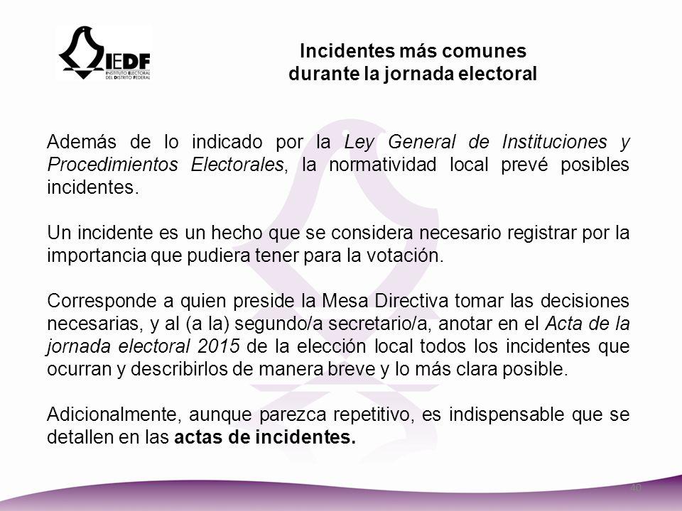 Incidentes más comunes durante la jornada electoral