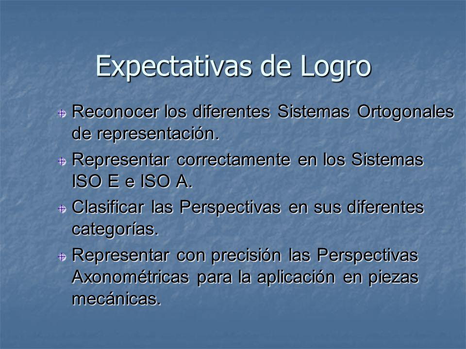 Expectativas de Logro Reconocer los diferentes Sistemas Ortogonales de representación. Representar correctamente en los Sistemas ISO E e ISO A.