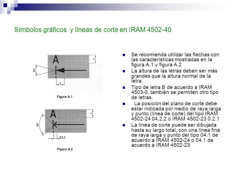 Símbolos gráficos y líneas de corte en IRAM 4502-40