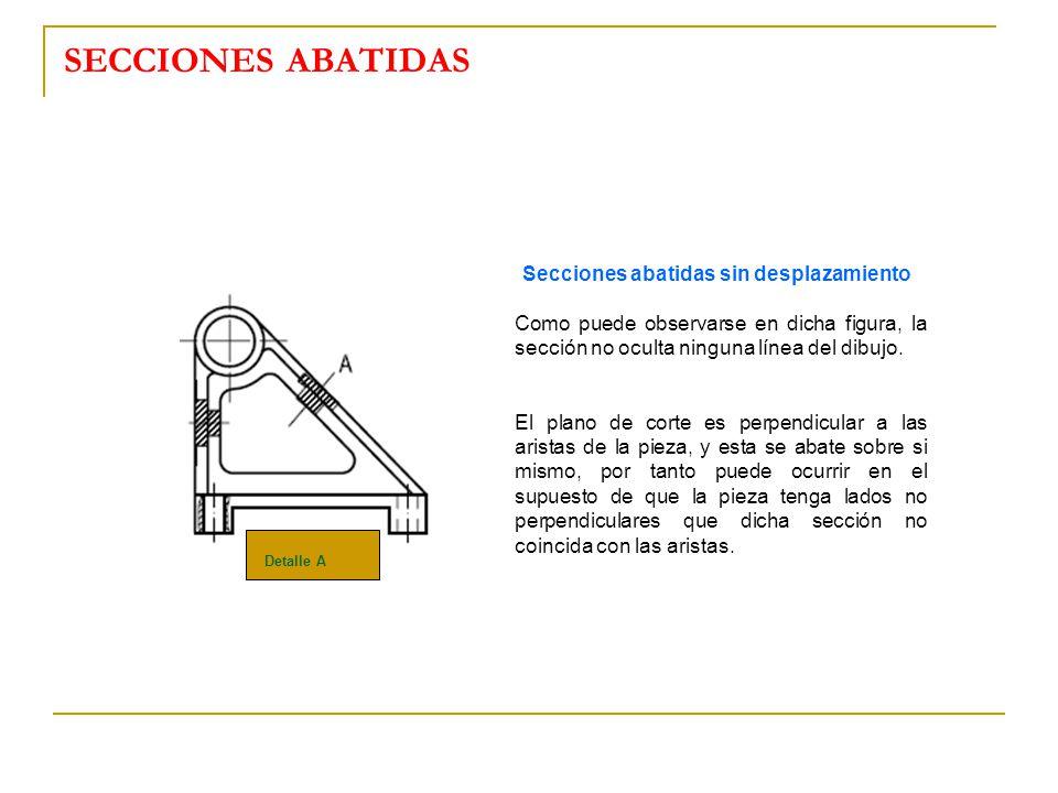 SECCIONES ABATIDAS Secciones abatidas sin desplazamiento. Como puede observarse en dicha figura, la sección no oculta ninguna línea del dibujo.
