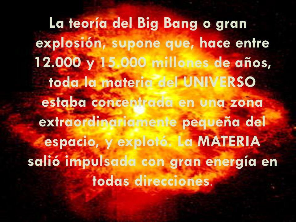 La teoría del Big Bang o gran explosión, supone que, hace entre 12
