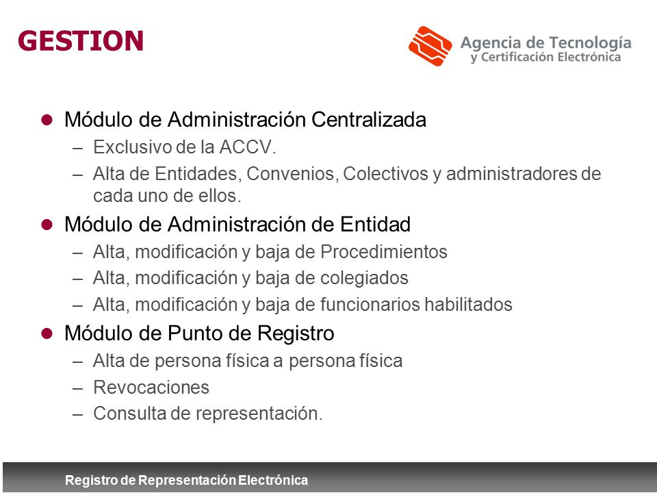 GESTION Módulo de Administración Centralizada