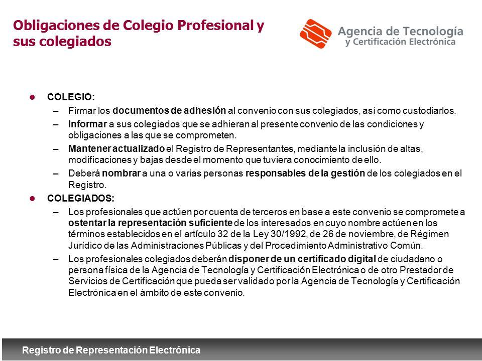 Obligaciones de Colegio Profesional y sus colegiados