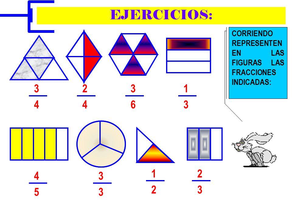 EJERCICIOS: CORRIENDO REPRESENTEN EN LAS FIGURAS LAS FRACCIONES INDICADAS: 3. 2. 3. 1. 4. 4. 6.