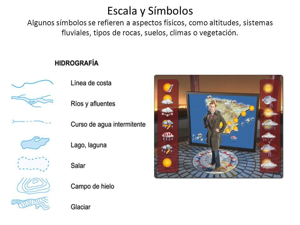 Escala y Símbolos Algunos símbolos se refieren a aspectos físicos, como altitudes, sistemas fluviales, tipos de rocas, suelos, climas o vegetación.