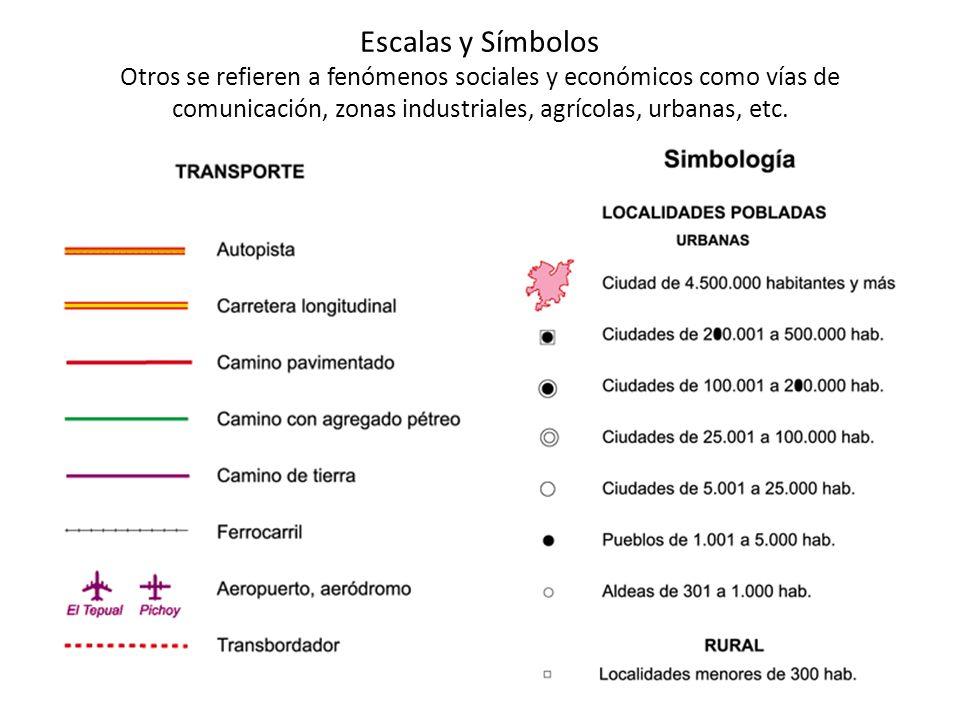 Escalas y Símbolos Otros se refieren a fenómenos sociales y económicos como vías de comunicación, zonas industriales, agrícolas, urbanas, etc.