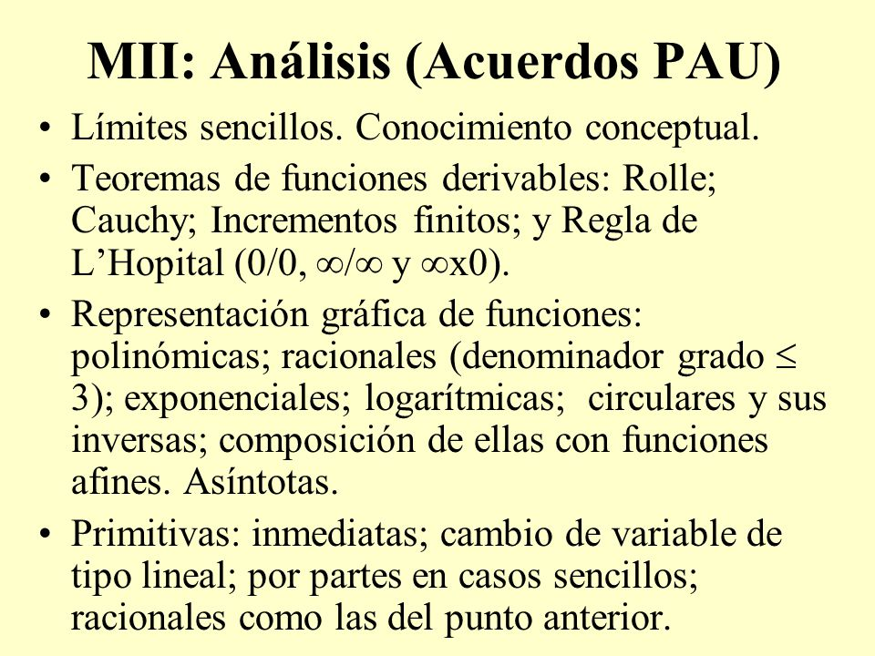 MII: Análisis (Acuerdos PAU)