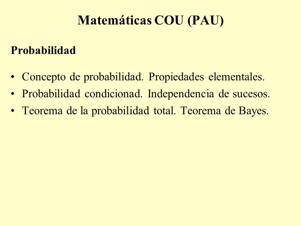 Matemáticas COU (PAU) Probabilidad