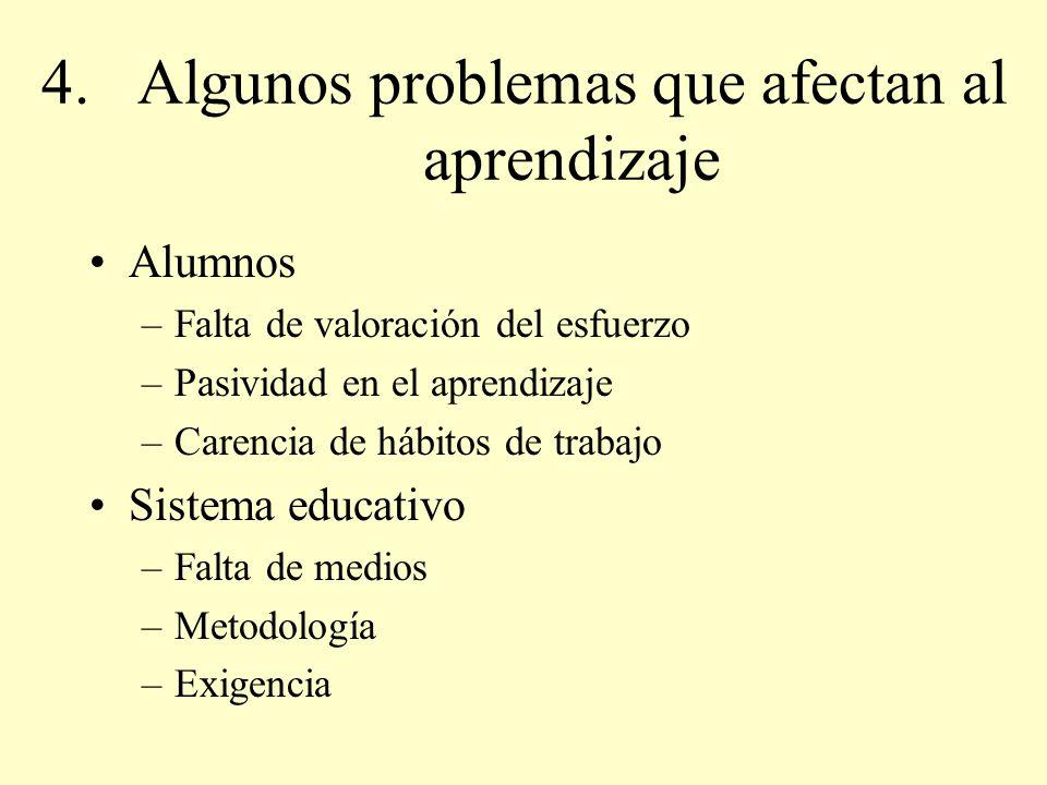 Algunos problemas que afectan al aprendizaje