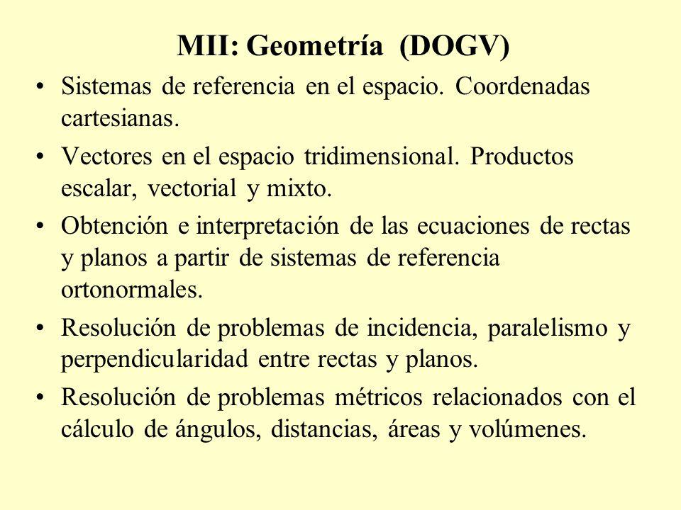 MII: Geometría (DOGV) Sistemas de referencia en el espacio. Coordenadas cartesianas.