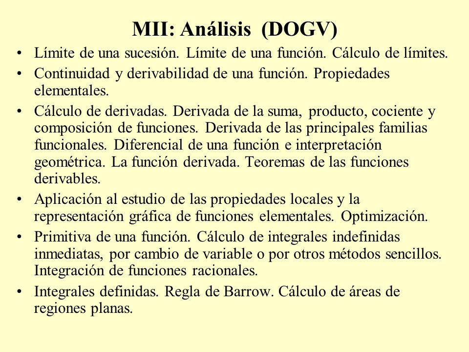 MII: Análisis (DOGV) Límite de una sucesión. Límite de una función. Cálculo de límites.