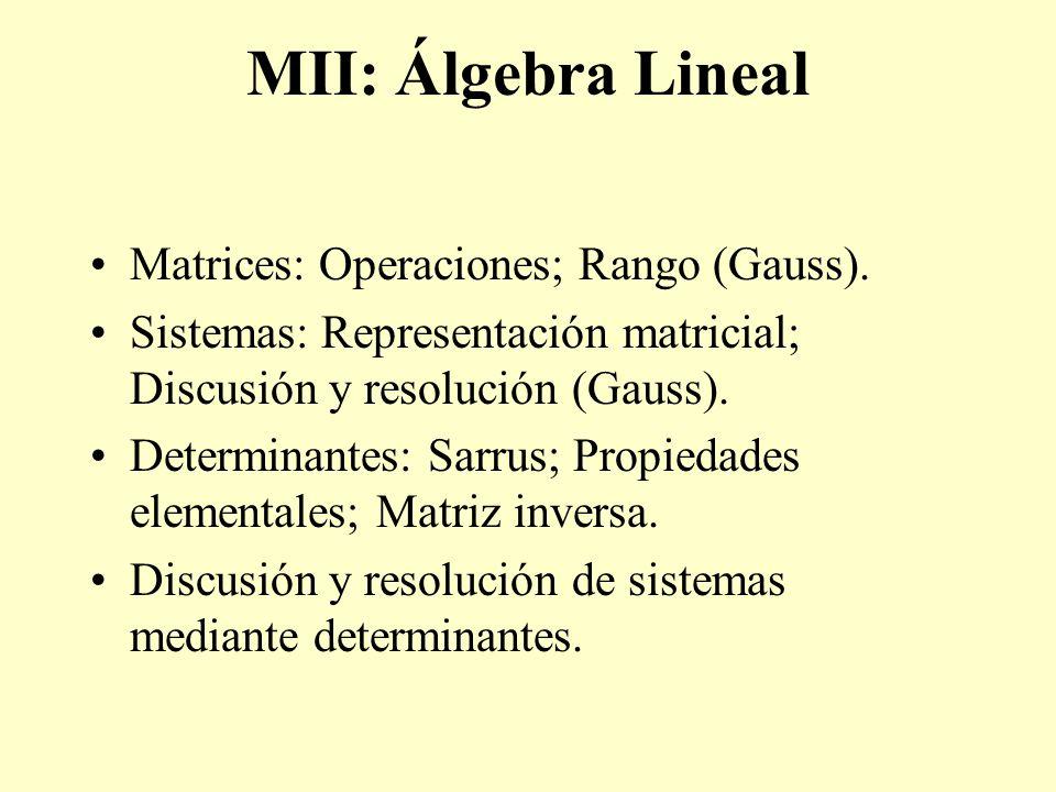 MII: Álgebra Lineal Matrices: Operaciones; Rango (Gauss).