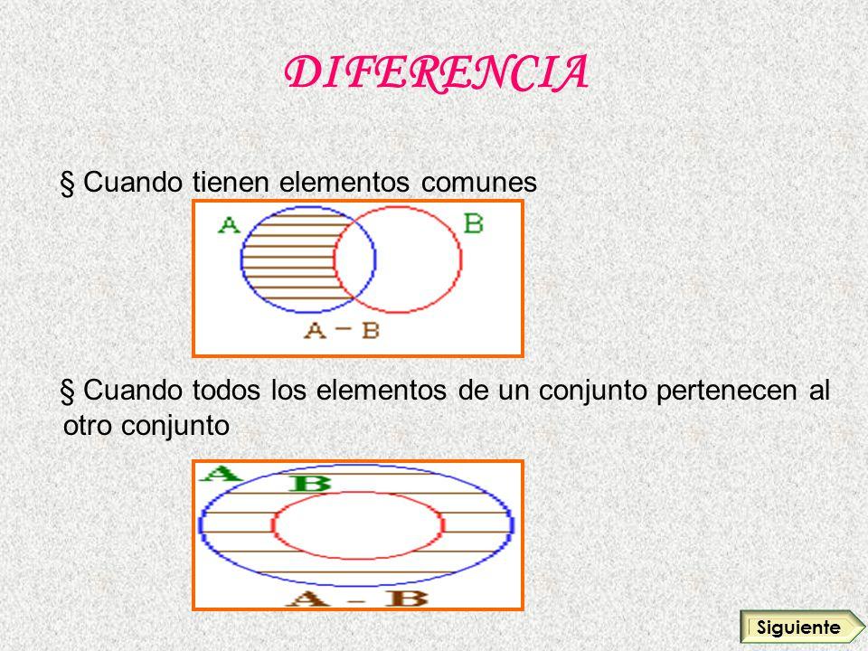 DIFERENCIA § Cuando tienen elementos comunes