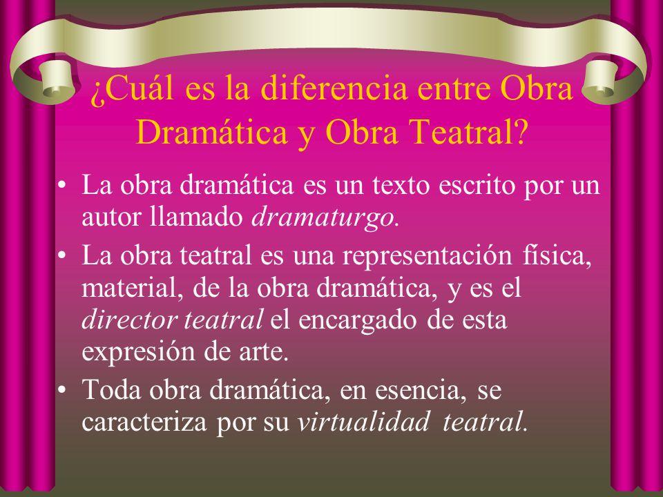¿Cuál es la diferencia entre Obra Dramática y Obra Teatral