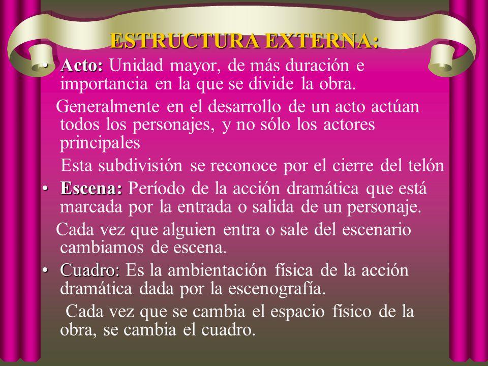 ESTRUCTURA EXTERNA: Acto: Unidad mayor, de más duración e importancia en la que se divide la obra.