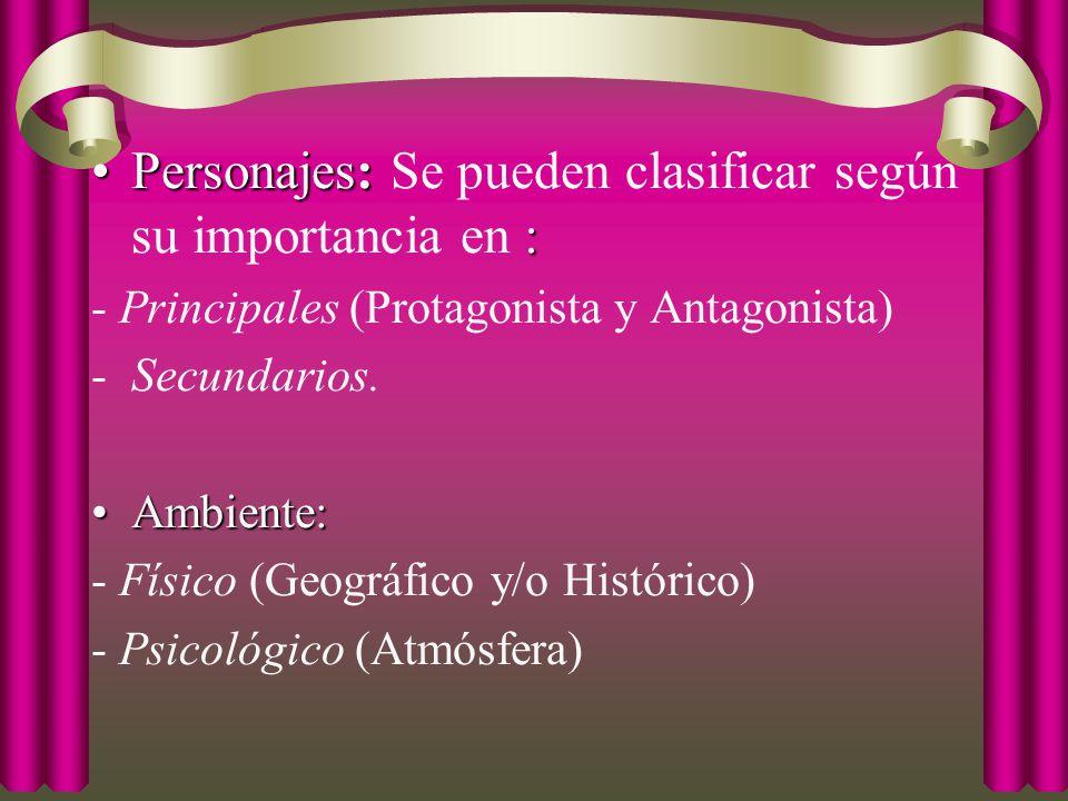 Personajes: Se pueden clasificar según su importancia en :