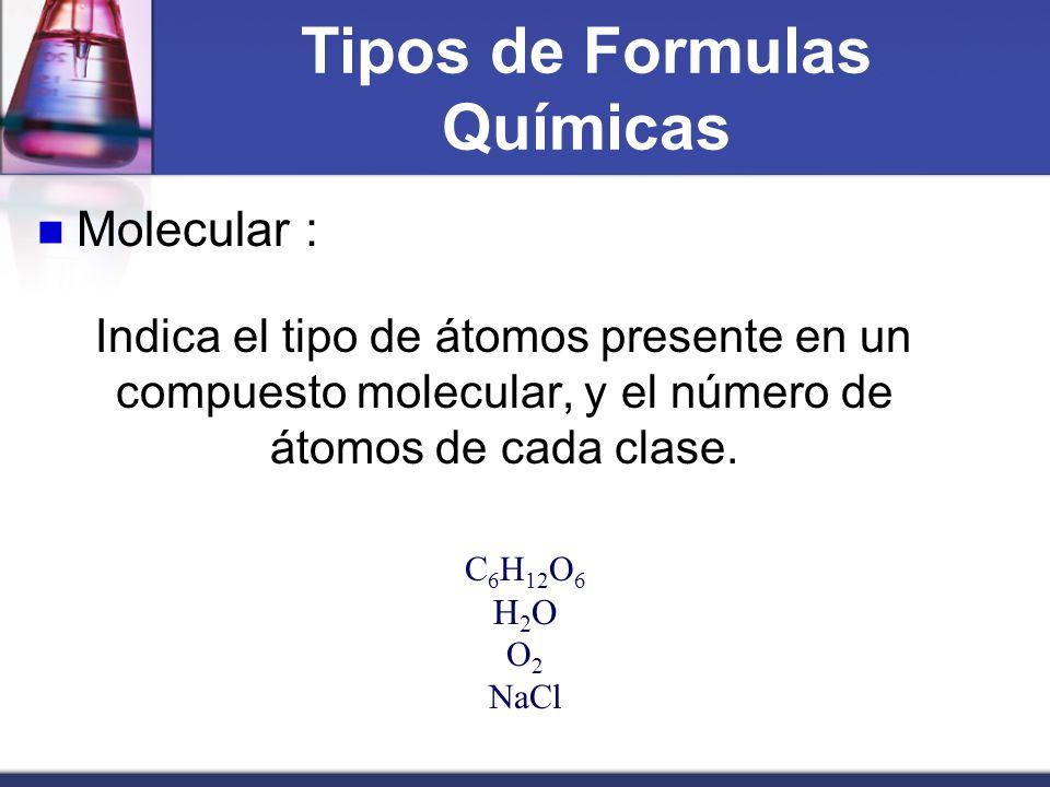 Tipos de Formulas Químicas