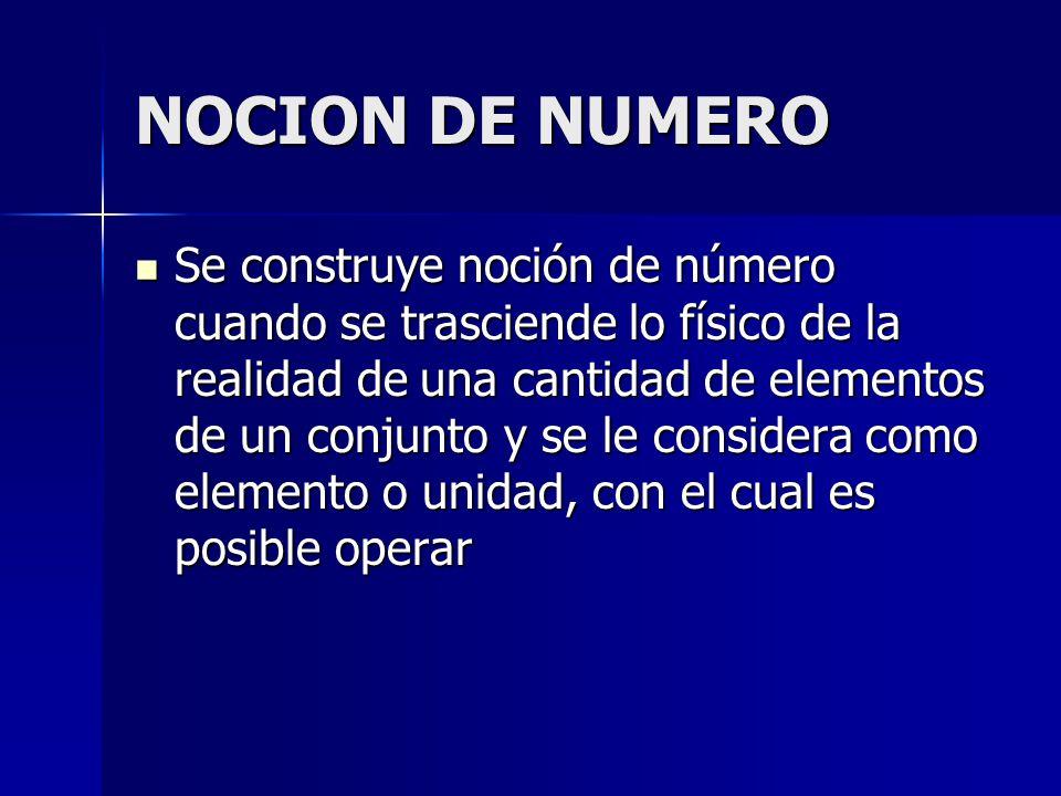 NOCION DE NUMERO