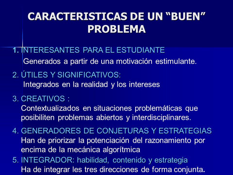 CARACTERISTICAS DE UN BUEN PROBLEMA