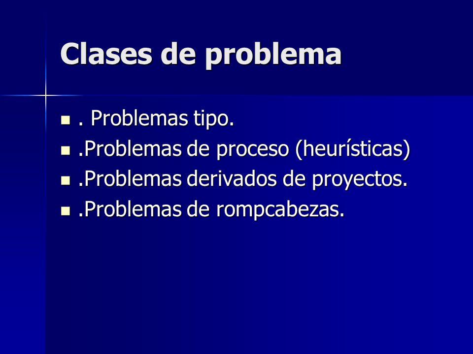 Clases de problema . Problemas tipo.