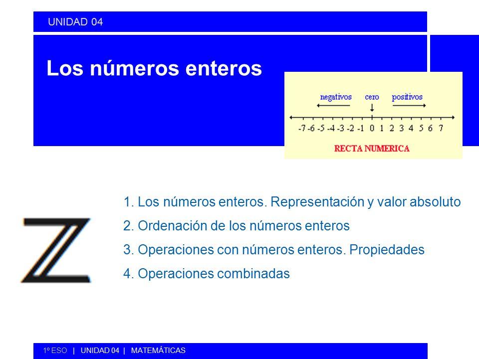 UNIDAD 04 Los números enteros. 1. Los números enteros. Representación y valor absoluto. 2. Ordenación de los números enteros.