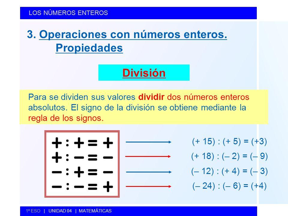 3. Operaciones con números enteros. Propiedades