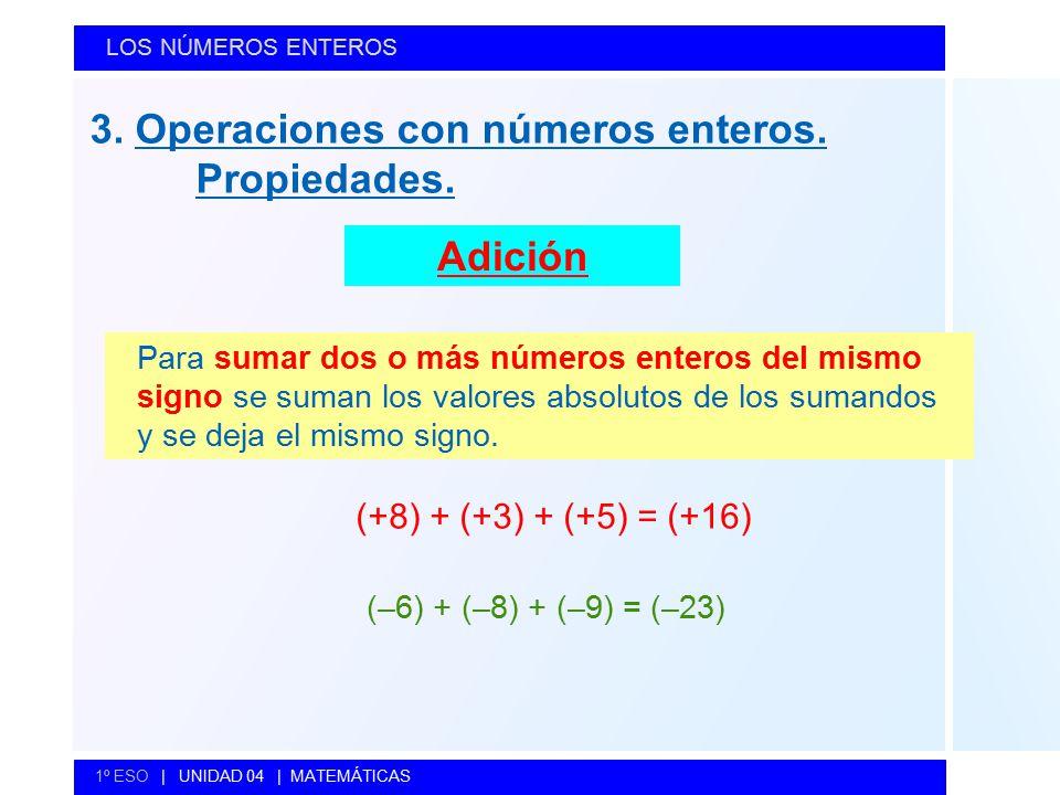 3. Operaciones con números enteros. Propiedades.