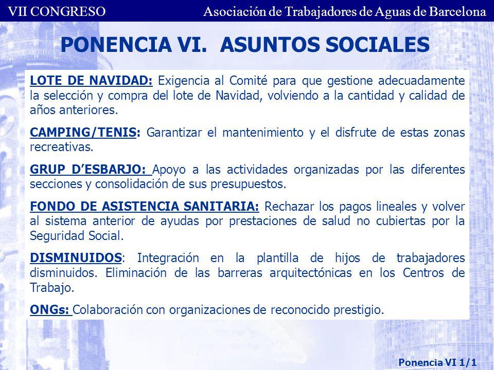 PONENCIA VI. ASUNTOS SOCIALES