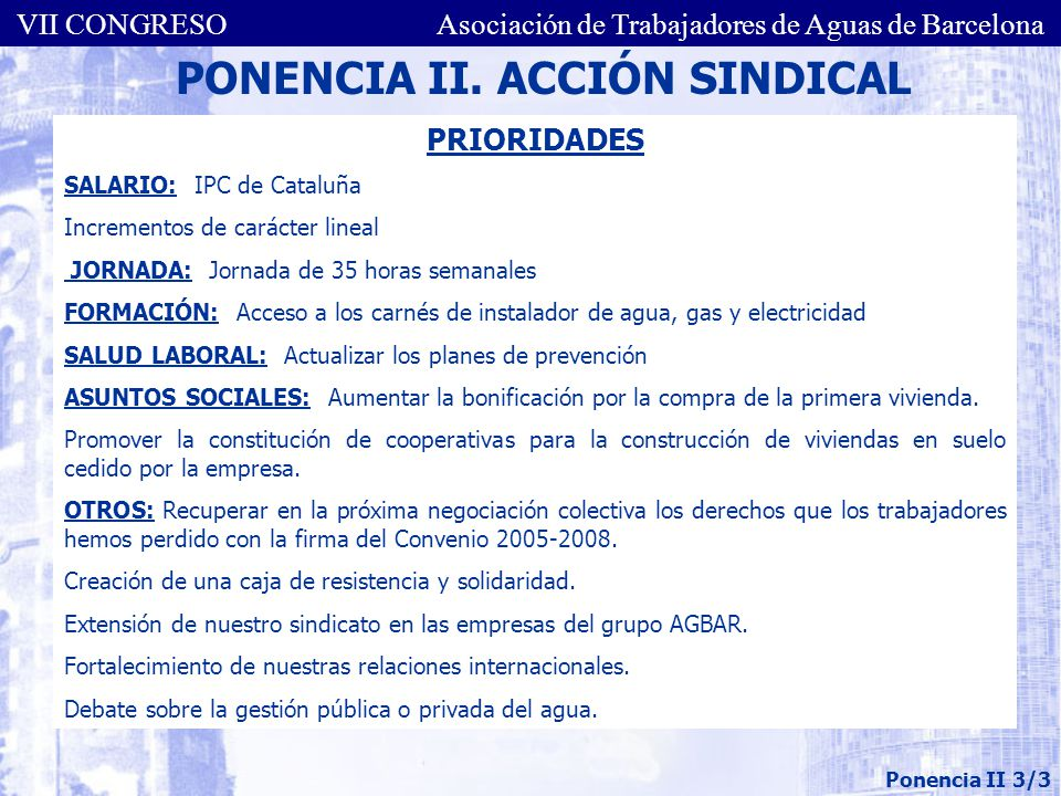 PONENCIA II. ACCIÓN SINDICAL