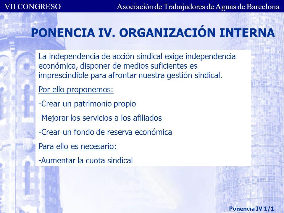 PONENCIA IV. ORGANIZACIÓN INTERNA