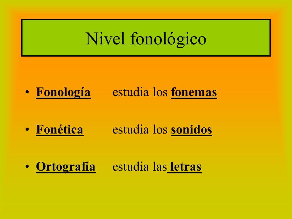 Nivel fonológico Fonología estudia los fonemas