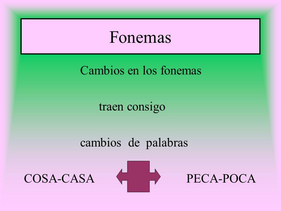 Fonemas Cambios en los fonemas traen consigo cambios de palabras