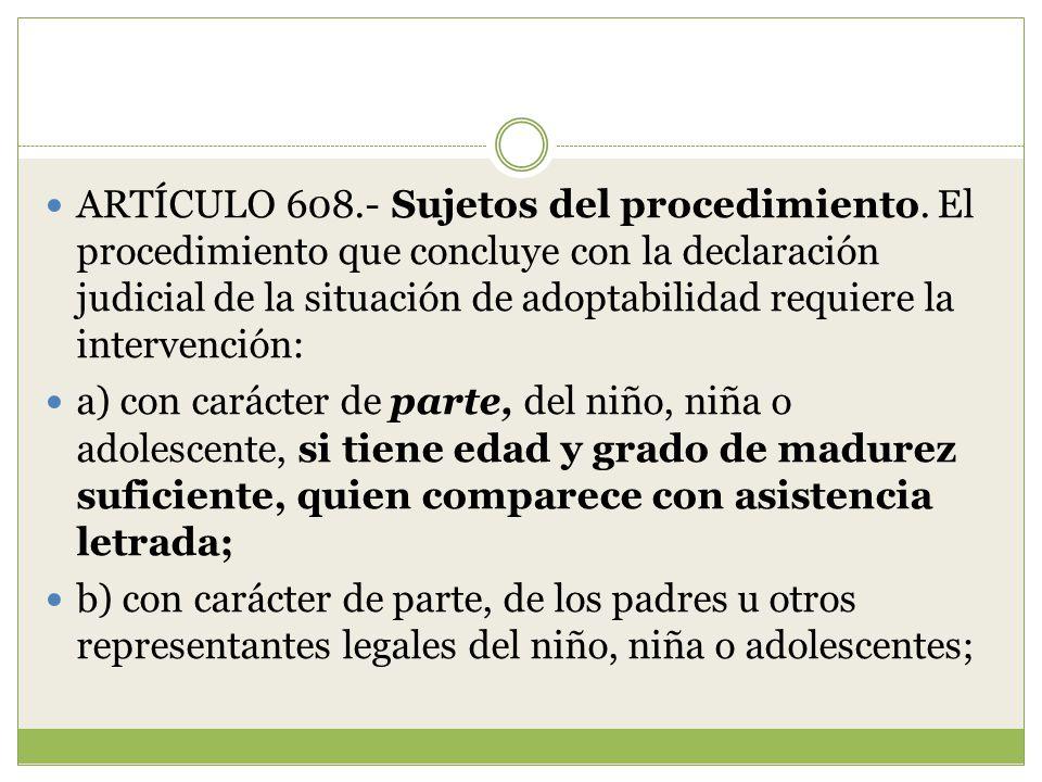 ARTÍCULO 608. - Sujetos del procedimiento
