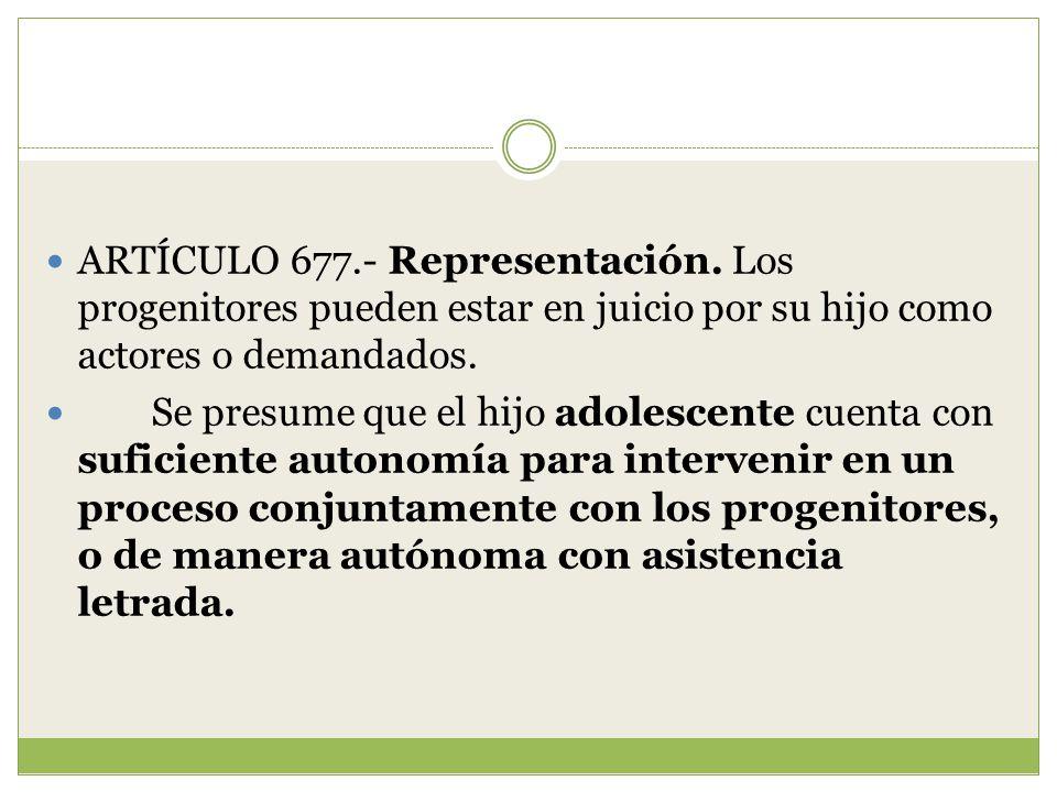 ARTÍCULO 677. - Representación