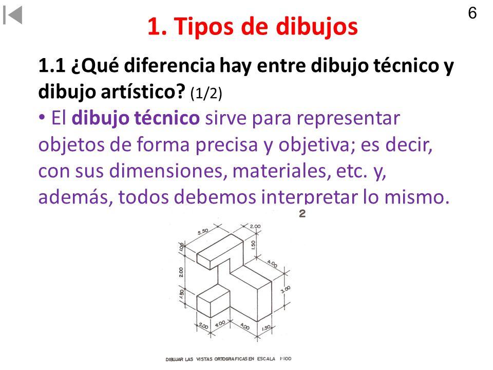 6 1. Tipos de dibujos. 1.1 ¿Qué diferencia hay entre dibujo técnico y dibujo artístico (1/2)