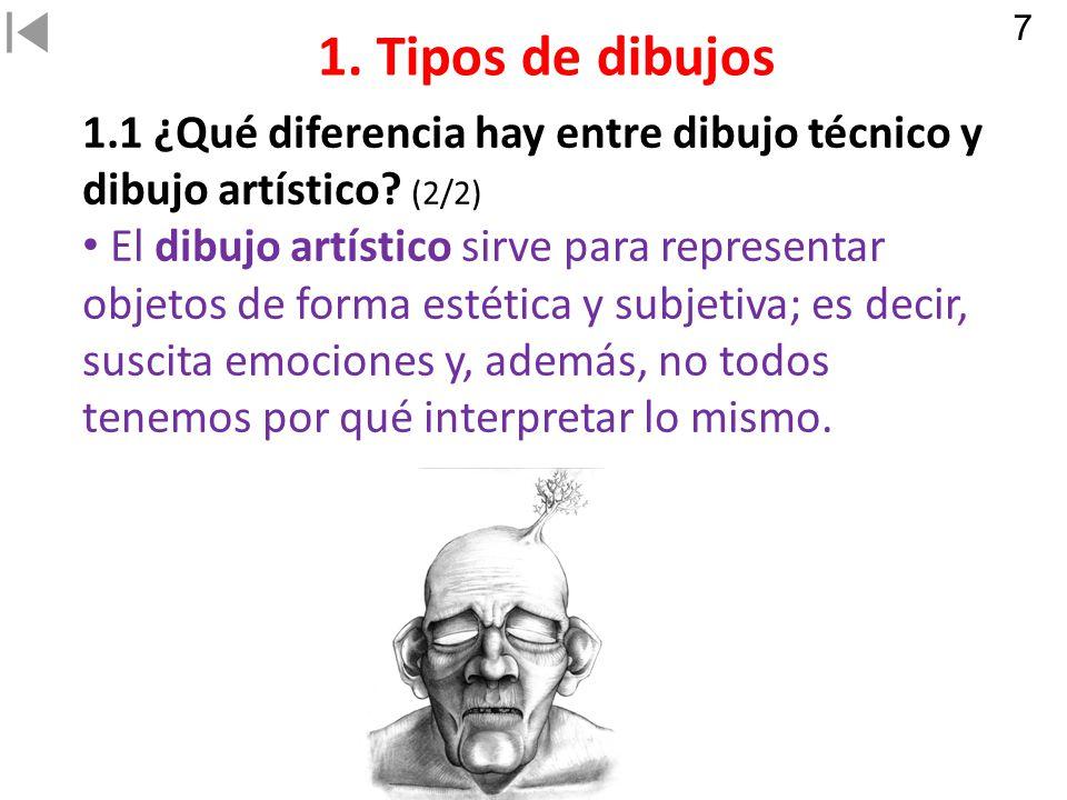 7 1. Tipos de dibujos. 1.1 ¿Qué diferencia hay entre dibujo técnico y dibujo artístico (2/2)
