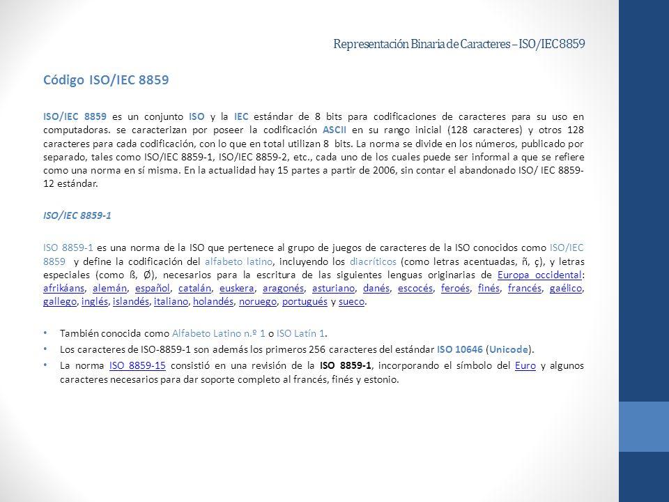 Representación Binaria de Caracteres – ISO/IEC 8859