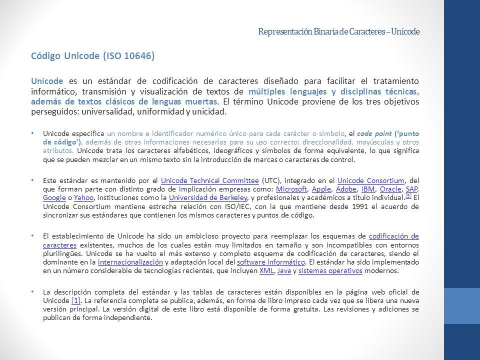 Representación Binaria de Caracteres – Unicode