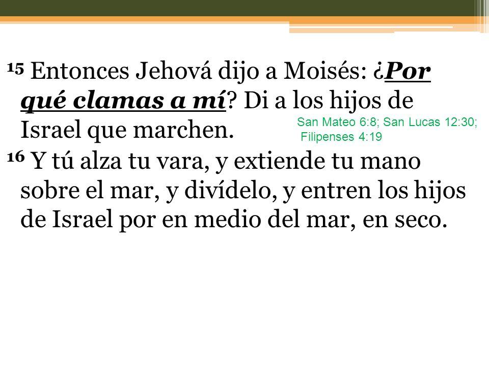 15 Entonces Jehová dijo a Moisés: ¿Por qué clamas a mí