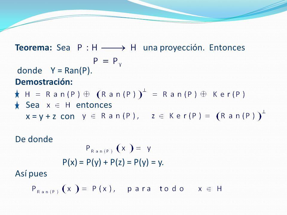 Teorema: Sea una proyección. Entonces. donde Y = Ran(P)