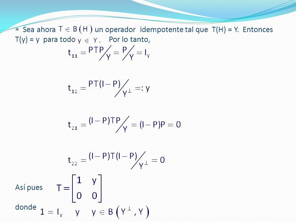  Sea ahora un operador idempotente tal que T(H) = Y