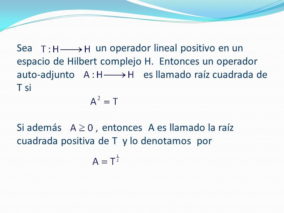 Sea un operador lineal positivo en un espacio de Hilbert complejo H