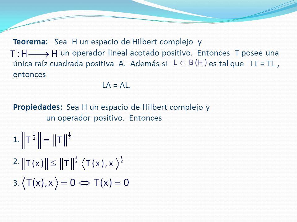 Teorema: Sea H un espacio de Hilbert complejo y un operador lineal acotado positivo.