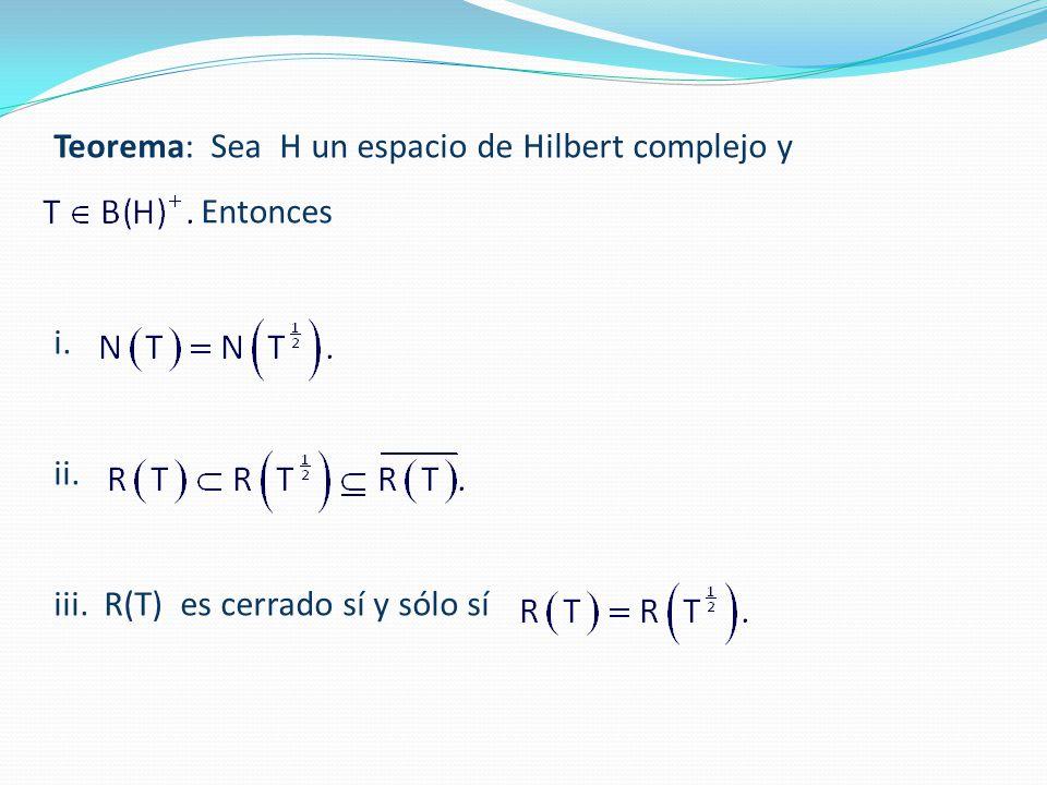Teorema: Sea H un espacio de Hilbert complejo y Entonces i. ii. iii