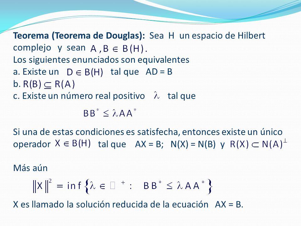 Teorema (Teorema de Douglas): Sea H un espacio de Hilbert complejo y sean Los siguientes enunciados son equivalentes a.