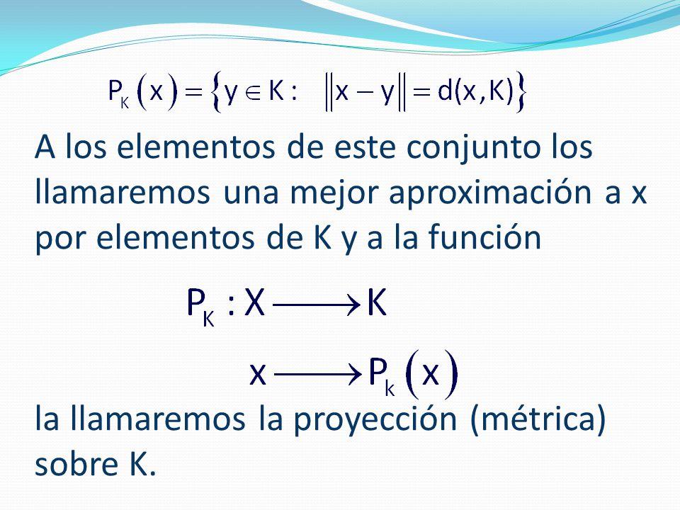 A los elementos de este conjunto los llamaremos una mejor aproximación a x por elementos de K y a la función la llamaremos la proyección (métrica) sobre K.