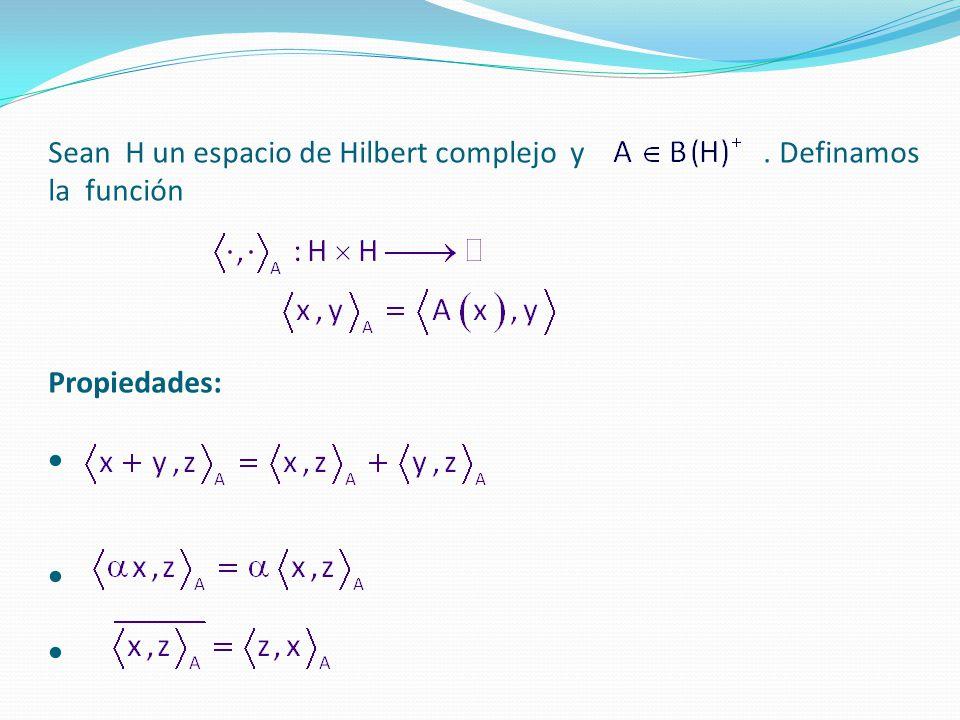 Sean H un espacio de Hilbert complejo y