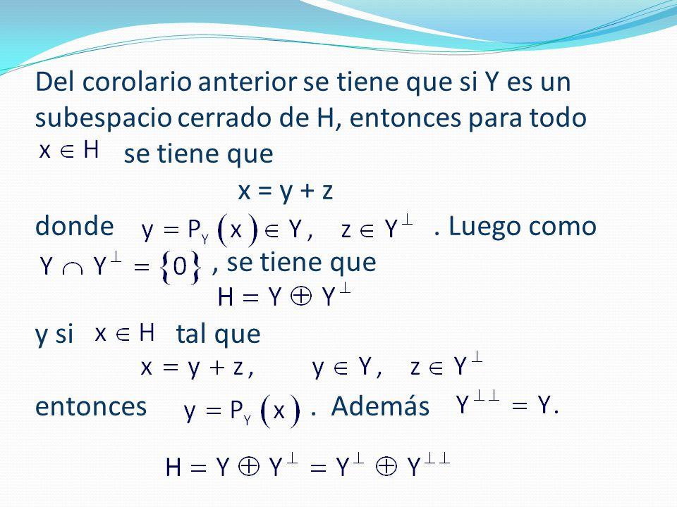 Del corolario anterior se tiene que si Y es un subespacio cerrado de H, entonces para todo se tiene que x = y + z donde .